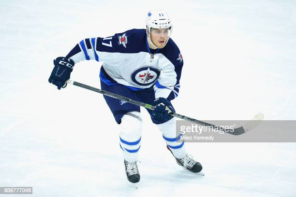 Adam Lowry of the Winnipeg Jets plays in a game against the Philadelphia Flyers at Wells Fargo Center on January 29 2015 in Philadelphia Pennsylvannia