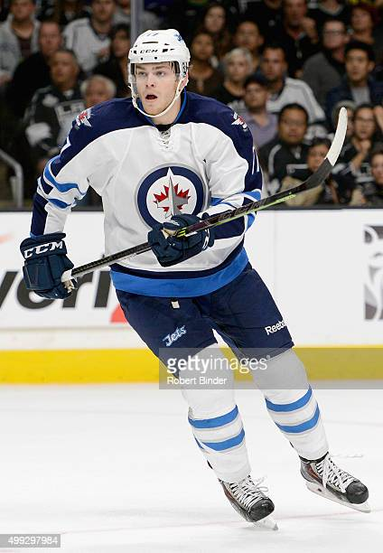 Adam Lowry of the Winnipeg Jets plays in the game against the Los Angeles Kings at Staples Center on October 12 2014 in Los Angeles California