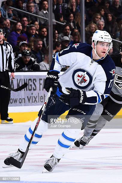 Adam Lowry of the Winnipeg Jets skates during his 200th career NHL game on January 14 2017 against the Los Angeles Kings at Staples Center in Los...