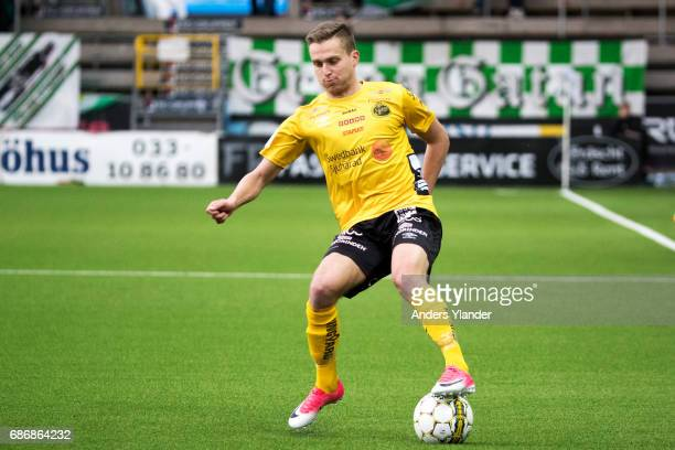 Adam Lundqvist of IF Elfsborg controls the ball during the Allsvenskan match between IF Elfsborg and Jonkopings Sodra IF at Boras Arena on May 22...