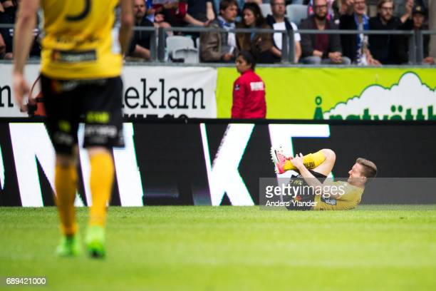 Adam Lundqvist of IF Elfsborg lies on the pitch during the Allsvenskan match between IFK Goteborg and IF Elfsborg at Gamla Ullevi on May 28 2017 in...