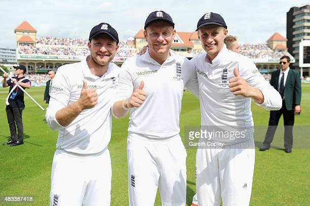 Adam Lyth Jonathan Bairstow and Joe Root of England after winning the 4th Investec Ashes Test match between England and Australia at Trent Bridge on...