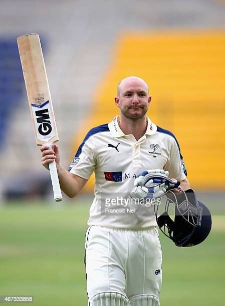 Adam Lyth of Yorkshire acknowledges the crowd as he walks from the field during day two of the Champion County match between Marylebone Cricket Club...