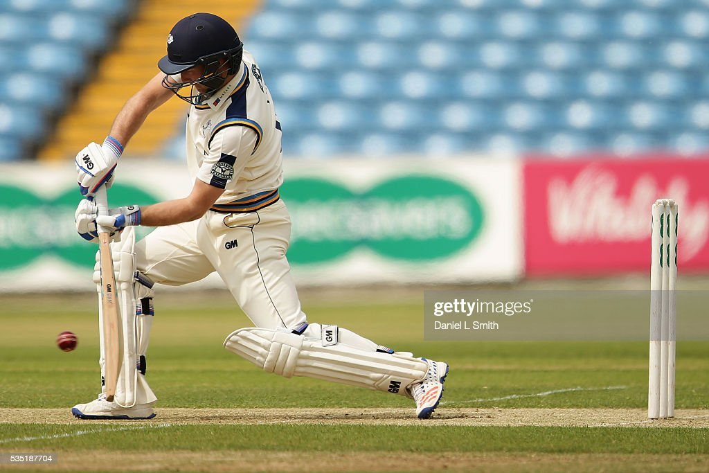 <a gi-track='captionPersonalityLinkClicked' href=/galleries/search?phrase=Adam+Lyth&family=editorial&specificpeople=4444475 ng-click='$event.stopPropagation()'>Adam Lyth</a> of Yorkshire bats during day one of the Specsavers County Championship: Division One match between Yorkshire and Lancashire at Headingley on May 29, 2016 in Leeds, England.