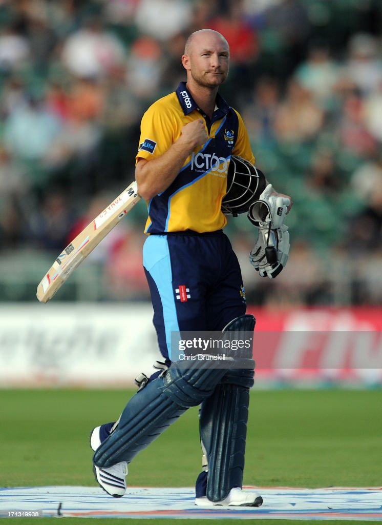 Adam Lyth of Yorkshire Carnegie walks back to the pavilion after being dismissed during the Friends Life T20 match between Lancashire Lightning and Yorkshire Carnegie at Old Trafford on July 24, 2013 in Manchester, England.