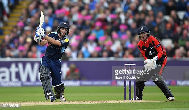 Adam Lyth of Yorkshire hots out for six runs during the NatWest t20 Blast Semi Final between Yorkshire and Durham at Edgbaston on August 20 2016 in...