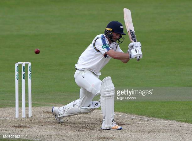 Adam Lyth of Yorkshire in action during Day One of the Specsavers County Championship Division One match between Yorkshire and Lancashire at...