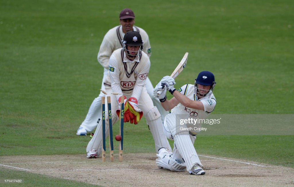 Adam Lyth of Yorkshire is bowled by Gary Keedy of Surrey during day four of the LV County Championship Division One match between Yorkshire and Surrey at Headingley on June 24, 2013 in Leeds, England.