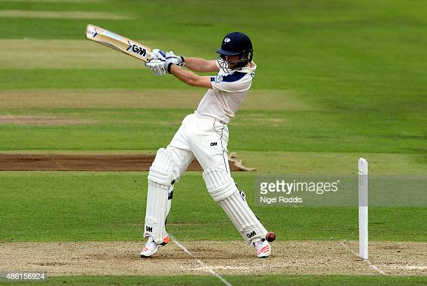 Adam Lyth of Yorkshire plays a shot during the LV County Championship match between Yorkshire and Somerset at Headingley on September 1 2015 in Leeds...