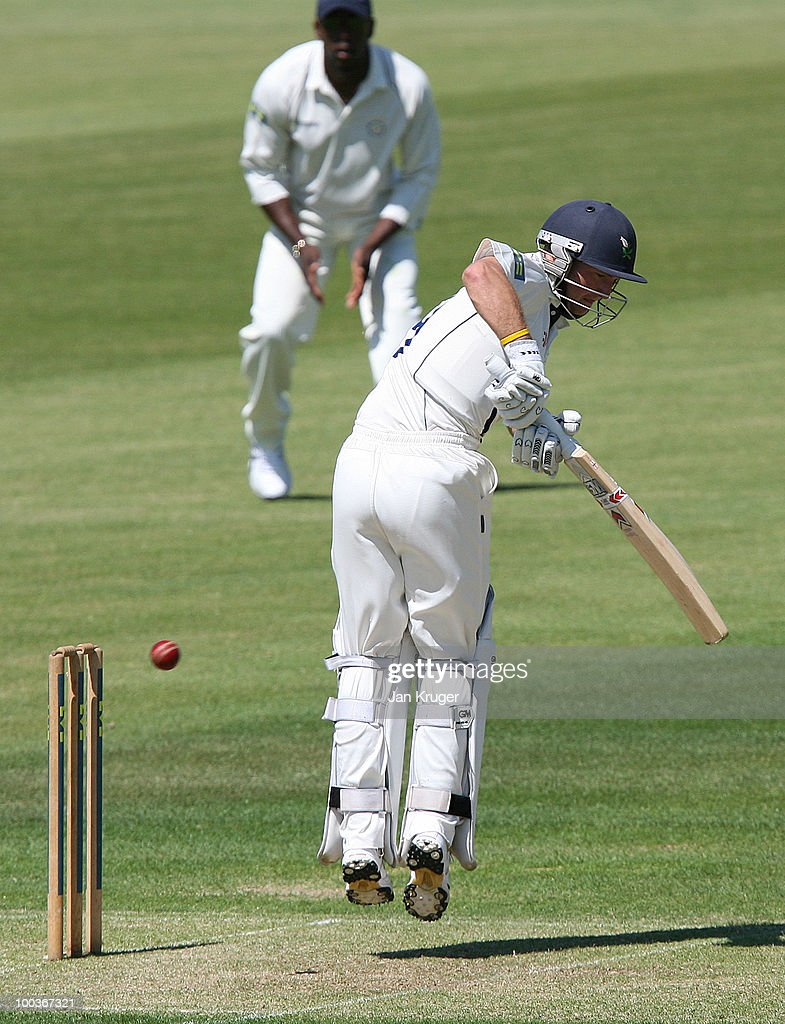 Adam Lyth of Yorkshire plays off his pads during the LV= County Championship Division One match between Hampshire and Yorkshire at The Rose Bowl on May 24, 2010 in Southampton, England.