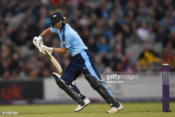 Adam Lyth of Yorkshire Vikings batting during the NatWest T20 Blast match against Lancashire Lightning and Yorkshire Vikings at Old Trafford on July...