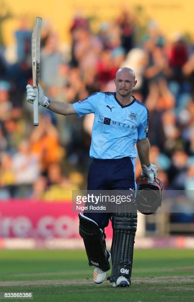 Adam Lyth of Yorkshire Vikings celebrates his century during the NatWest T20 Blast at Headingley on August 17 2017 in Leeds England