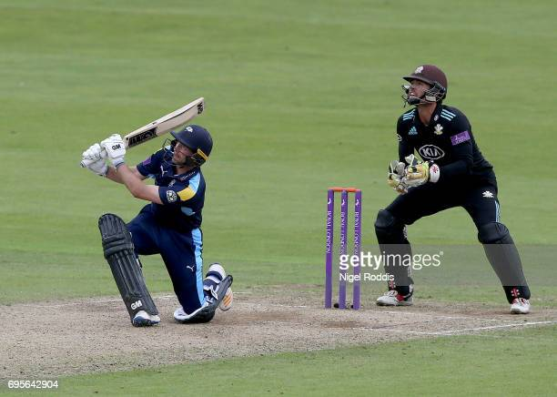 Adam Lyth of Yorkshire Vikings hits out during the Royal London OneDay Cup Play Off between Yorkshire Vikings and Surrey at Headingley on June 13...