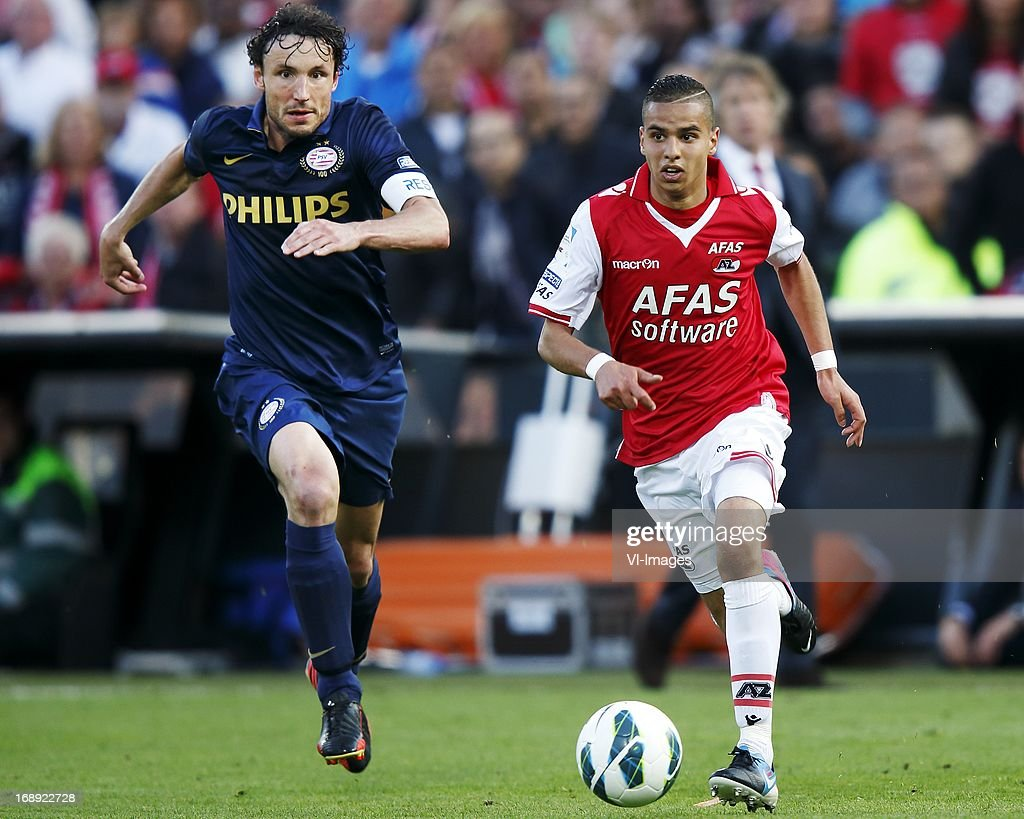 Adam Maher (R), Mark van Bommel (L) during the Dutch Cup final match between AZ Alkmaar and PSV Eindhoven on May 9, 2013 at the Kuip stadium in Rotterdam, The Netherlands.