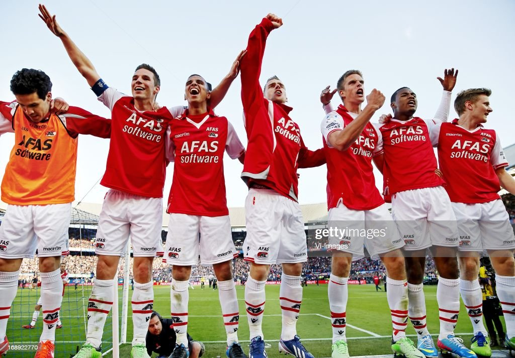 Adam Maher (3rd R), Nick Viergever (2nd L) during the Dutch Cup final match between AZ Alkmaar and PSV Eindhoven on May 9, 2013 at the Kuip stadium in Rotterdam, The Netherlands.