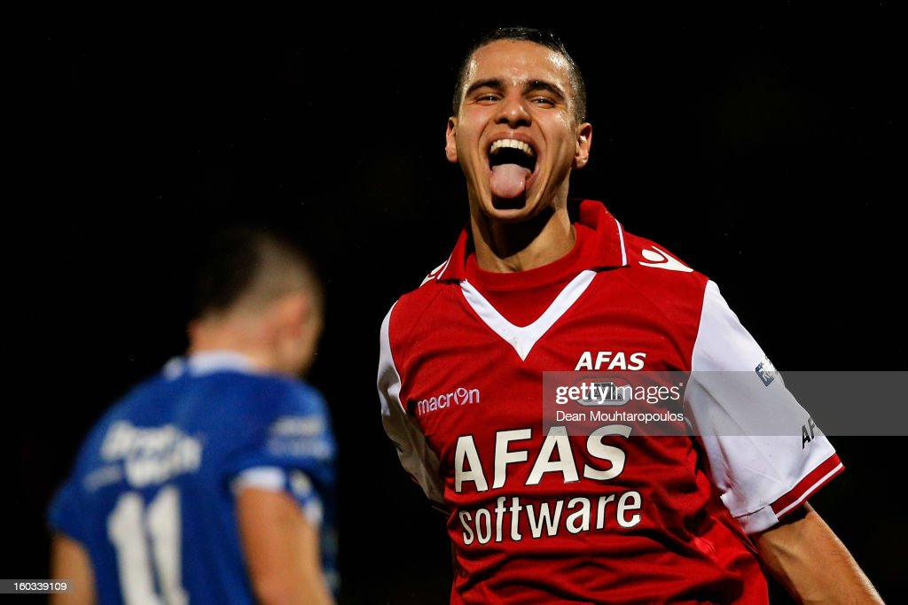 Adam Maher (R) of AZ Alkmaar celebrates after scoring a goal during the KNVB Dutch Cup match between FC Den Bosch and AZ Alkmaar at BrainWash Stadion De Vliert on January 29, 2013 in Bosch, Netherlands.