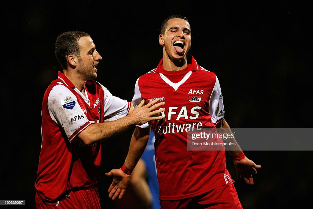 Adam Maher (R) of AZ Alkmaar celebrates after scoring a goal with team mate Roy Beerens during the KNVB Dutch Cup match between FC Den Bosch and AZ Alkmaar at BrainWash Stadion De Vliert on January 29, 2013 in Bosch, Netherlands.