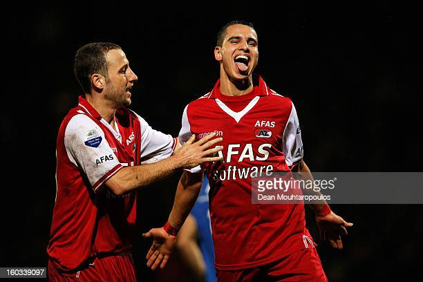 Adam Maher of AZ Alkmaar celebrates after scoring a goal with team mate Roy Beerens during the KNVB Dutch Cup match between FC Den Bosch and AZ...