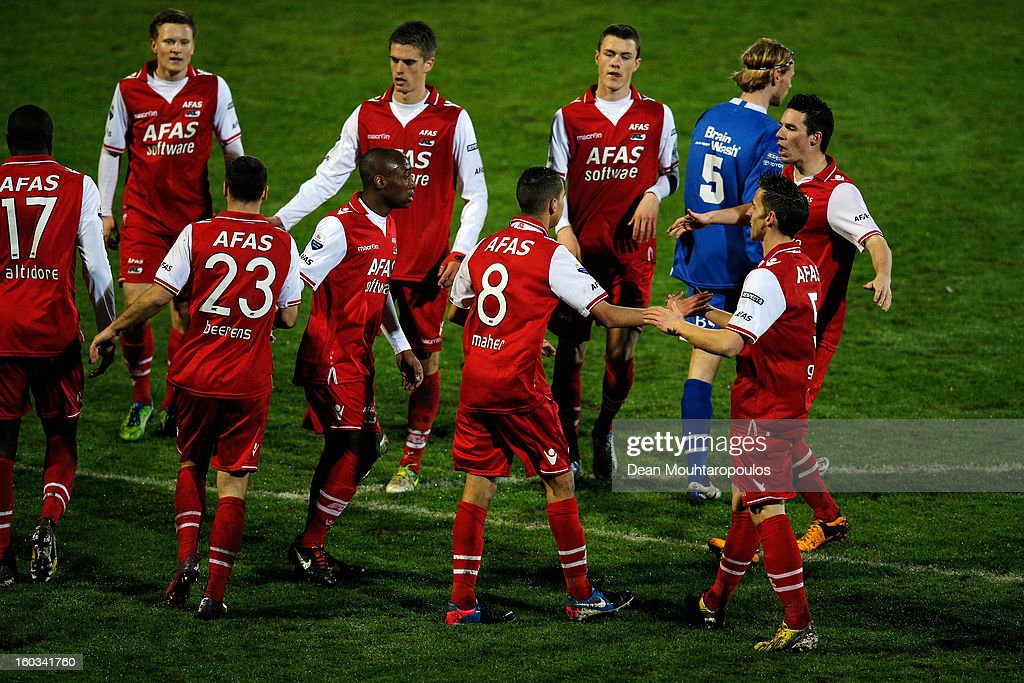 Adam Maher (#8) of AZ Alkmaar celebrates after scoring a goal with team mates during the KNVB Dutch Cup match between FC Den Bosch and AZ Alkmaar at BrainWash Stadion De Vliert on January 29, 2013 in Bosch, Netherlands.