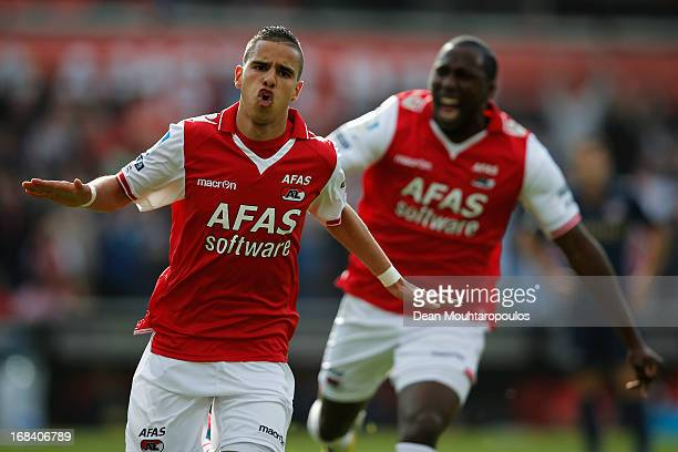 Adam Maher of AZ celebrates scoring the first goal of the game during the Dutch Cup final between PSV Eindhoven and AZ Alkmaar at De Kuip on May 9...
