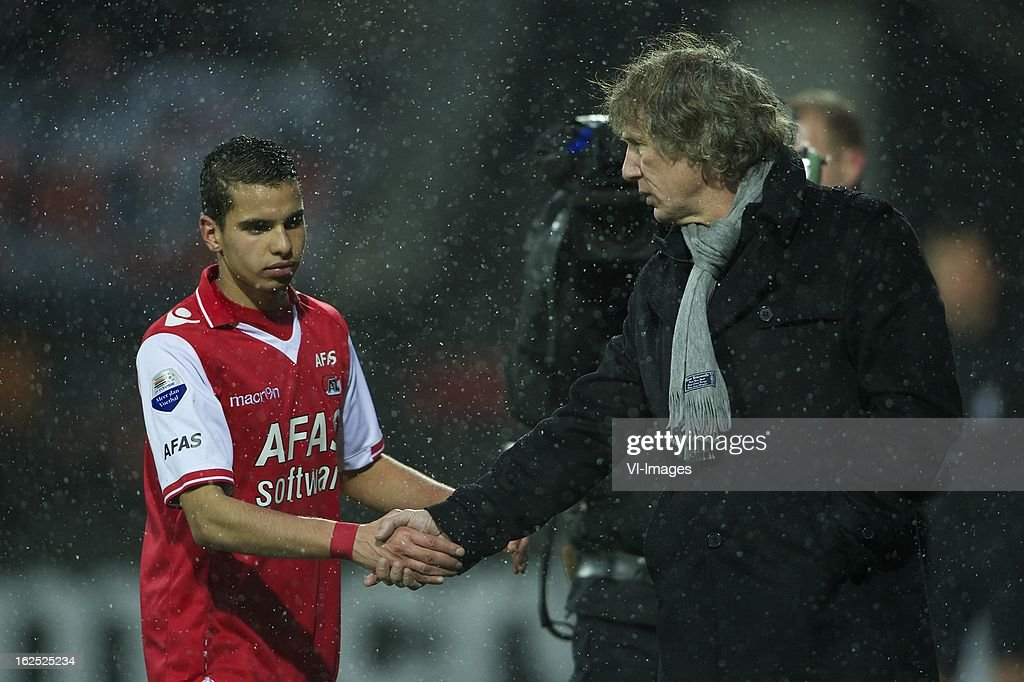 Adam Maher of AZ, coach Gert Jan Verbeek of AZ during the Dutch Eredivisie Match between AZ Alkmaar and NAC Breda at the AFAS Stadium on february 24, 2013 in Alkmaar, The Netherlands