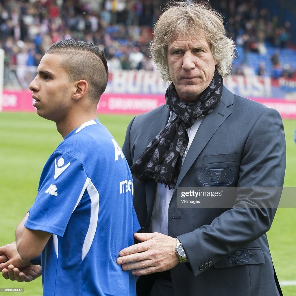 Adam Maher of AZ , coach Gert Jan Verbeek of AZ during the Dutch Eredivisie match between Willem II and AZ Alkmaar on May 12, 2013 at the Koning Willem II stadium in Tilburg, The Netherlands.