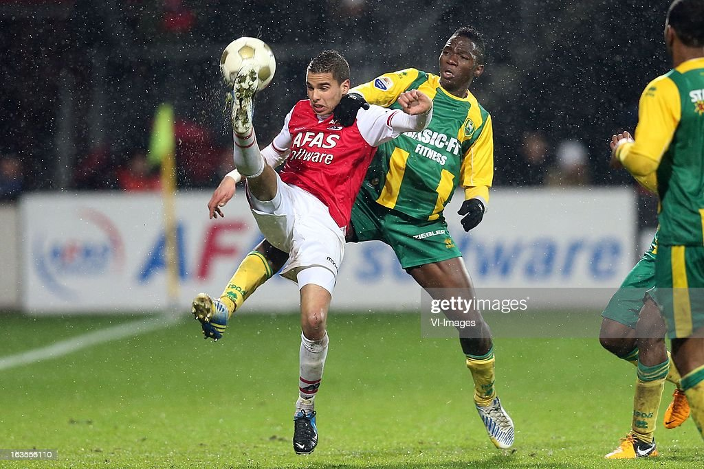 Adam Maher of AZ, Kenneth Omeruo of ADO Den Haag during the Dutch Eredivisie match between AZ Alkmaar and ADO Den Haag at the AFAS Stadium on march 09, 2013 in Alkmaar, The Netherlands