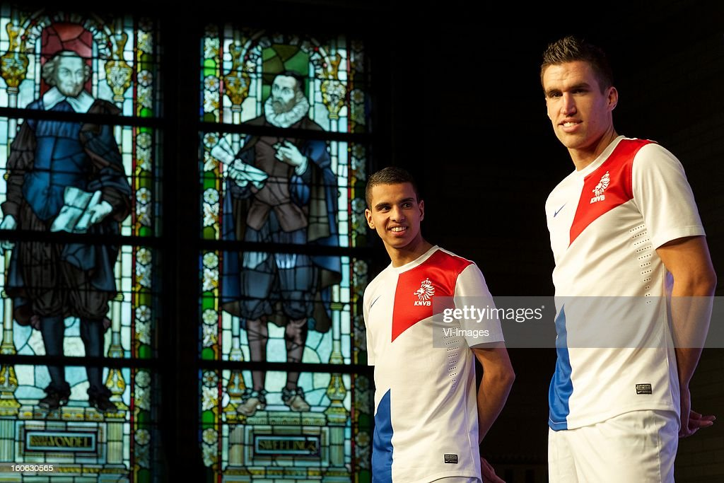 Adam Maher of AZ, Kevin Strootman of PSV during the presentation of the new Netherlands National team kit on February 4, 2013 at Amsterdam, Netherlands.
