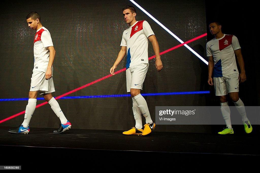 Adam Maher of AZ, Kevin Strootman of PSV, Ricardo van Rhijn of Ajax during the presentation of the new Netherlands National team kit on February 4, 2013 at Amsterdam, Netherlands.
