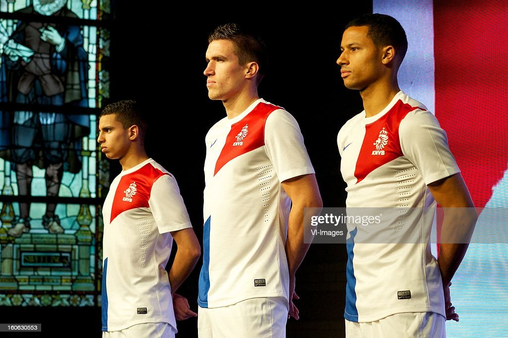 Adam Maher of AZ, Kevin Strootman of PSV, Ricardo van Rhijn of Ajax during the presentation of the new Netherlands National team kit on February 4, 2013 at Amsterdam, Netherlands.