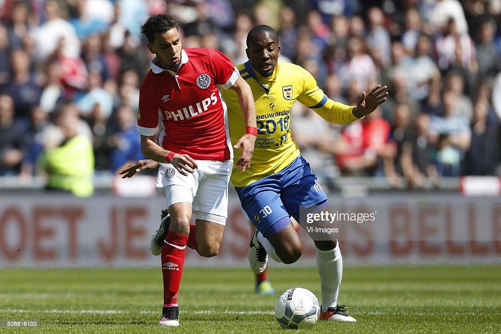 , Adam Maher of PSV, Calvin Mac-Intosh of SC Cambuur during the Dutch Eredivisie match between PSV Eindhoven and SC Cambuur Leeuwarden at the Phillips stadium on May 01, 2016 in Eindhoven, The Netherlands
