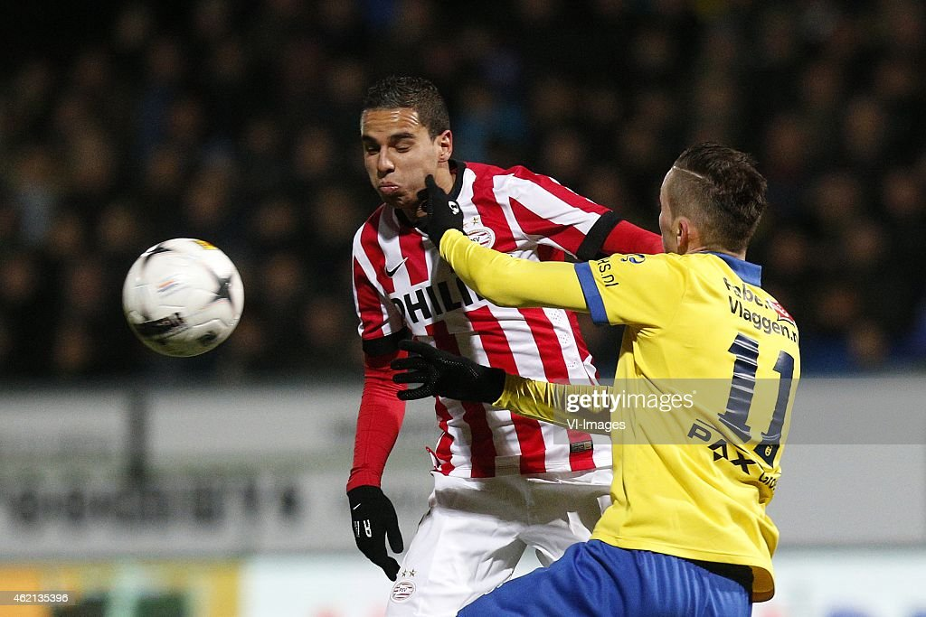 Adam Maher of PSV Sinan Bytyqi of SC Cambuur during the Dutch Eredivisie match between SC Cambuur and PSV Eindhoven at the Cambuurstadion on january...