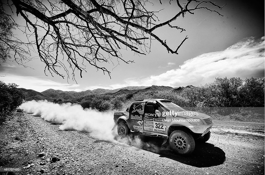 (#322) Adam Malysz and Rafal Marton of Poland for Proto Overdrive Toyota compete during Day 6 of the 2014 Dakar Rally on January 10, 2014 near Embalse Cabra Corral, Argentina.