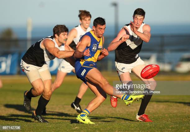 Adam Marcon of Williamstown kicks during the round nine VFL match between Williamstown and North Ballarat at Burbank Oval on June 18 2017 in...