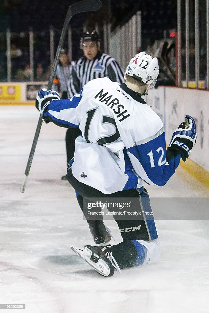 Adam Marsh #12 the Saint John Sea Dogs celebrates his first period goal against the Gatineau Olympiques on October 18, 2015 at Robert Guertin Arena in Gatineau, Quebec, Canada.
