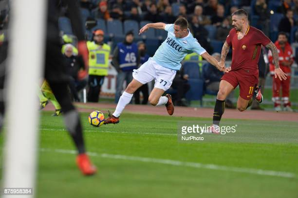 Adam Marusic Aleksandar Kolarov during the Italian Serie A football match between AS Roma and SS Lazio at the Olympic Stadium in Rome on november 18...