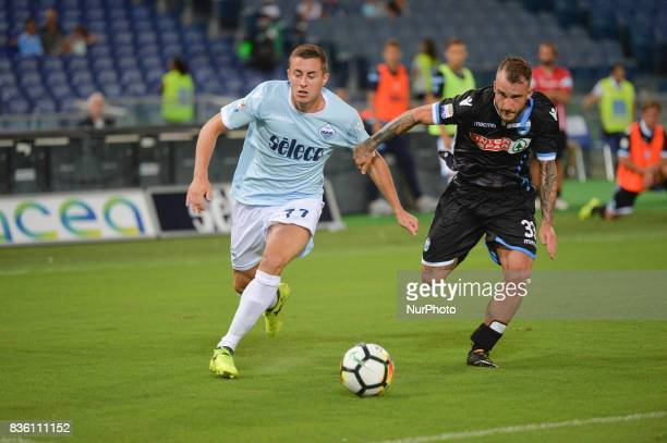 Adam Marusic and Filippo Costa during the Italian Serie A football match SS Lazio vs Spal at the Olympic Stadium in Rome august on 20 2017