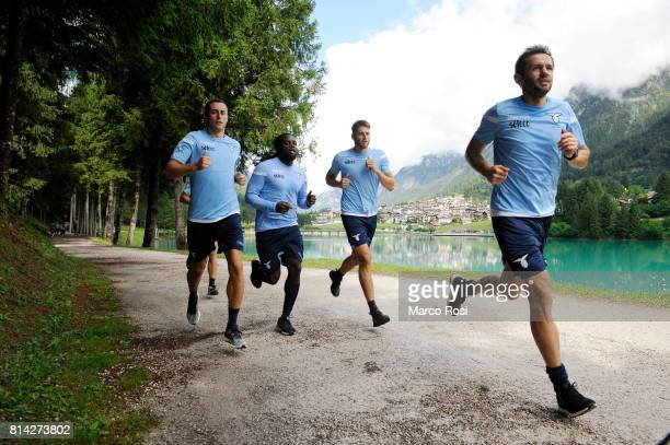 Adam Marusic and Senad Lulic of SS Lazio during the SS Lazio PreSeason Training Camp on July 14 2017 in Pieve di Cadore Italy
