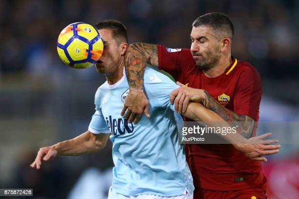 Adam Marusic of Lazio and Aleksandar Kolarov of Roma during the Italian Serie A football match AS Roma vs Lazio on November 18 2017 at the Olympic...