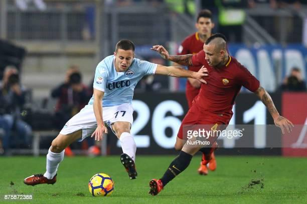 Adam Marusic of Lazio and Radja Nainggolan of Roma during the Italian Serie A football match AS Roma vs Lazio on November 18 2017 at the Olympic...