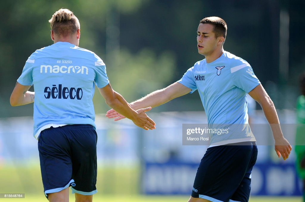 Adam Marusic of SS Lazio celebrates a goal with Ciro Immobile of SS Lazio during the Pre-Season Friendly match between SS Lazio and Reappresentativa Cadore on July 16, 2017 in Pieve di Cadore, Italy.