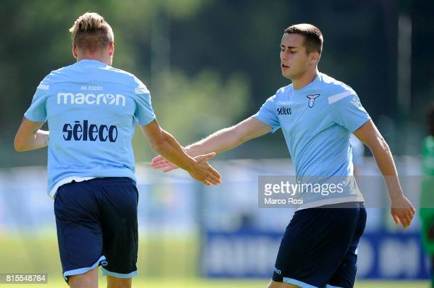 Adam Marusic of SS Lazio celebrates a goal with Ciro Immobile of SS Lazio during the PreSeason Friendly match between SS Lazio and Reappresentativa...
