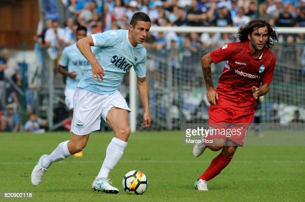 Adam Marusic of SS Lazio compete for the ball with Luca Mora of Spal during the preseason friendly match between SS Lazio and SPAL on July 22 2017 in...