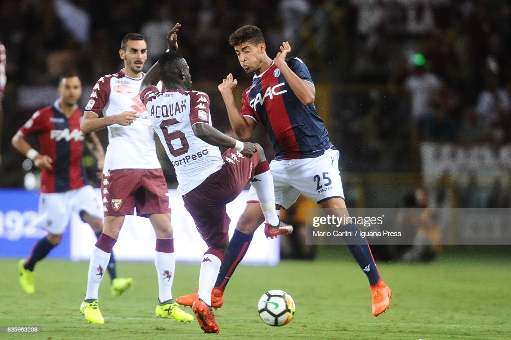 Adam Masina # 25 of Bologna FC in action during the Serie A match between Bologna FC and Torino FC at Stadio Renato Dall'Ara on August 20, 2017 in Bologna, Italy.