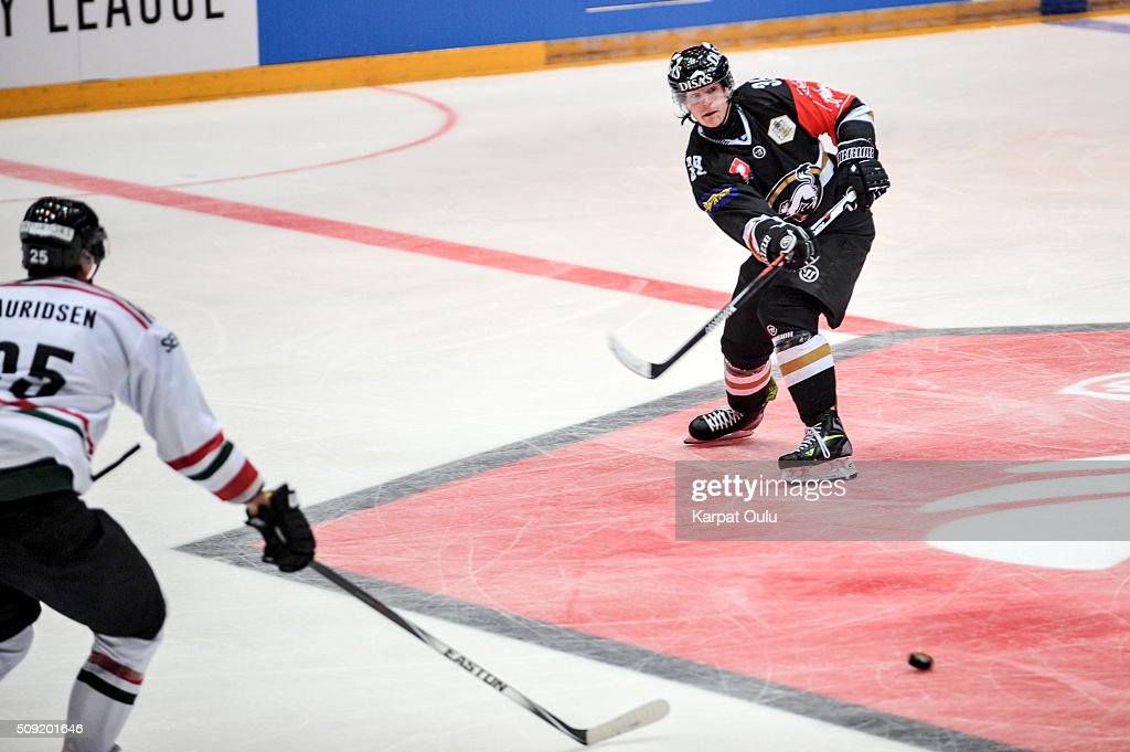 Adam Masuhr #38 of Karpat Oulu during the Champions Hockey League final between Karpat Oulu and Frolunda Gothenburg at Oulun Energia-Areena on February 9, 2016 in Oulu, Finland.