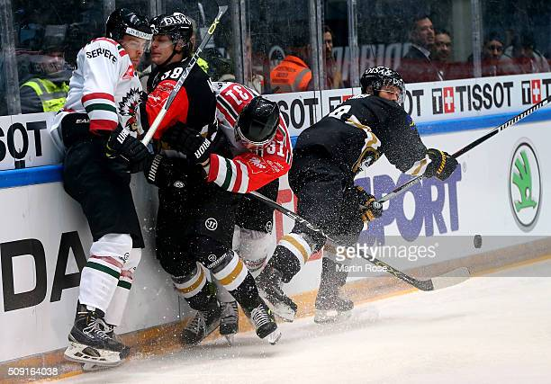 Adam Masuhr of Oulu and Niklas Lasu of Gothenburg battle for the puck during the Champions Hockey League final game between Karpat Oulu and Frolunda...