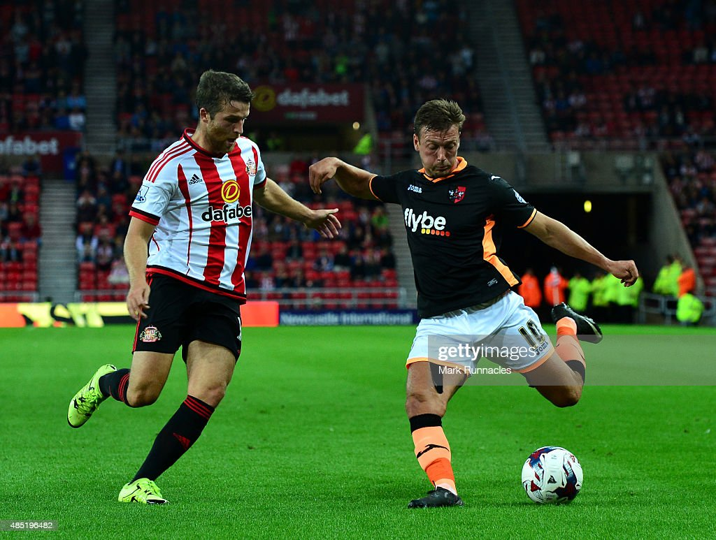 <a gi-track='captionPersonalityLinkClicked' href=/galleries/search?phrase=Adam+Matthews+-+Soccer+Player&family=editorial&specificpeople=11408041 ng-click='$event.stopPropagation()'>Adam Matthews</a> of Sunderland blocks a cross from Lee Holmes of Exeter City during the Capital One Cup Second Round match between Sunderland and Exeter City at Stadium of Light on August 25, 2015 in Sunderland, England.