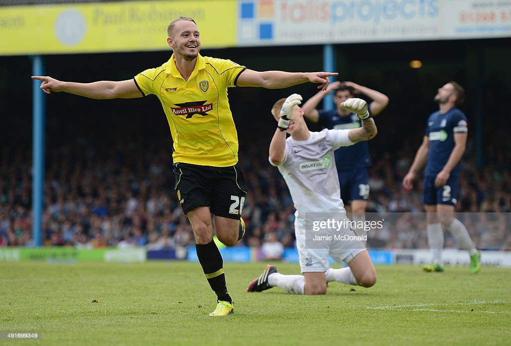 Adam McGurk of Burton Albion celebrates his goal during the Sky Bet League Two semi-final, second leg match between Southend United and Burton Albion at Roots Hall on May 17, 2014 in Southend, England.