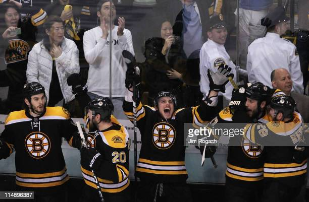 Adam McQuaid Daniel Paille Tyler Seguin Milan Lucic and Mark Recchi of the Boston Bruins celebrate their 1 to 0 victory over the Tampa Bay Lightning...