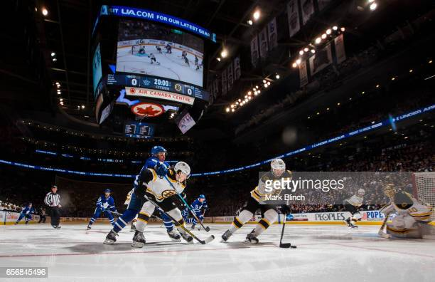 Adam McQuaid of the Boston Bruins skates against the Toronto Maple Leafs during the first period at the Air Canada Centre on March 20 2017 in Toronto...